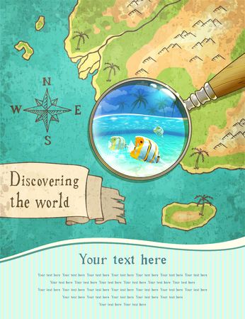 snorkelling: magnifier showing beautiful nature on the old map, vector illustration,