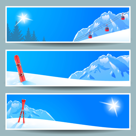 Set of banners with sunny winter landscape, vector illustration.
