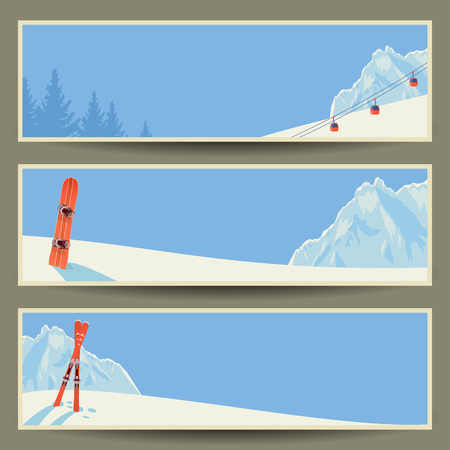 Set of banners with retro winter landscape, vector illustration,