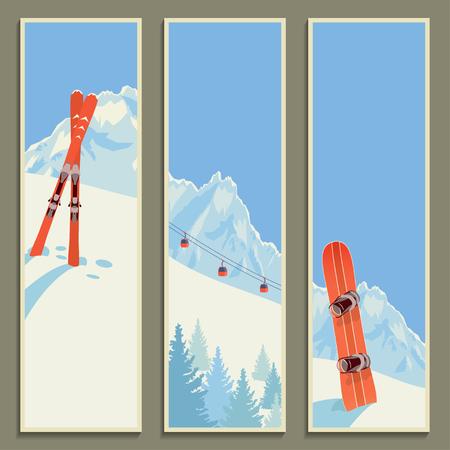 ski: Set of banners with retro winter landscape, vector illustration. Illustration