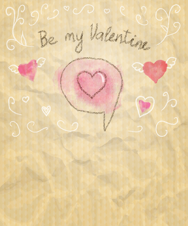 sketchy: Be My Valentine Sketchy Card with Hearts. Vector illustration.