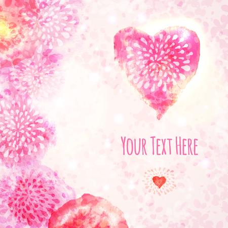 バレンタインの心と水彩のカード。ベクトルの図。  イラスト・ベクター素材