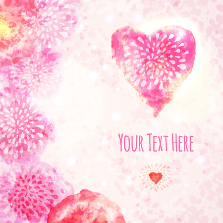 Valentine Watercolor Card with Heart. Vector illustration.