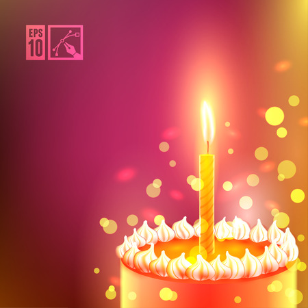 cake background: Happy Birthday Background with Cake. Vector illustration. Illustration