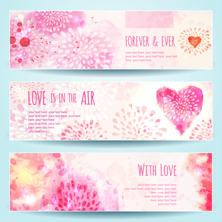 romantic love: Set of Watercolor Banners with Hearts. Vector illustration, eps10 Illustration
