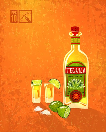 Bottle of tequila and lime. Ve ctor illustration, editable.