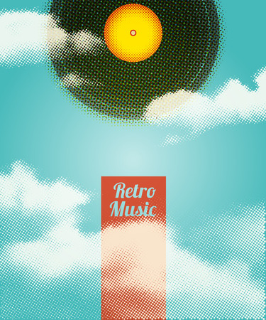 jukebox: Retro Music Halftone Poster. Vector illustration, eps10.