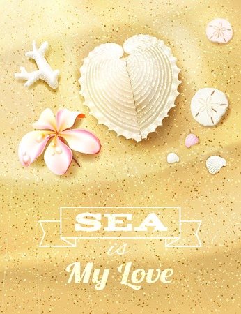 oceanside: Sunny Dunes with Heart Shaped Seashell, Sand Dollars and Flower. Vector illustration, eps10, editable.