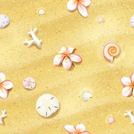 花、砂ドル、貝殻でシームレスな砂の背景。Eps10、編集可能なベクトルの図。