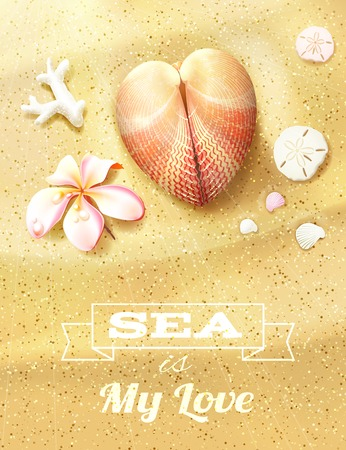 resort: Sunny Dunes with Heart Shaped Seashell, Sand Dollars and Flower. Vector illustration, eps10, editable.