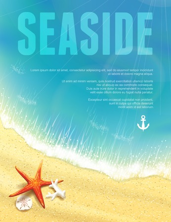 seashell: Beautiful Seaside View with Starfish. Vector illustration, eps10, editable.