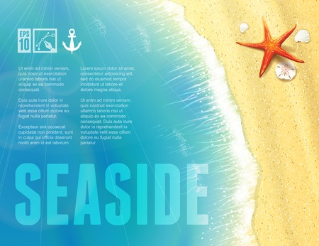 oceanside: Beautiful Seaside View with Starfish. Vector illustration, eps10, editable.