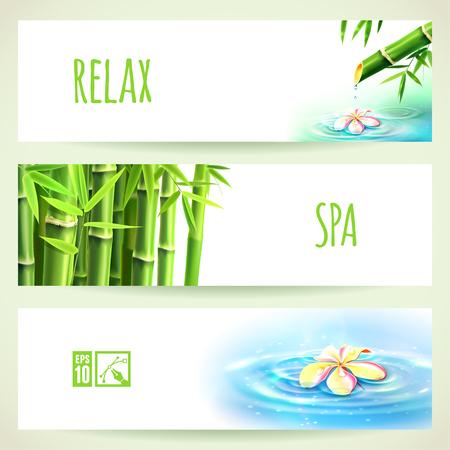 garden fountain: Set of Horizontal Bamboo Banners. Vector illustration, eps10, editable.
