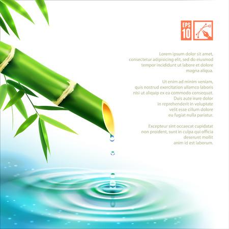 bamboo fountain: Beauty Bamboo Fountain. Vector illustration, eps10, editable.