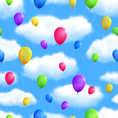 seamless sky: Seamless Sky Background with Balloons.  Illustration