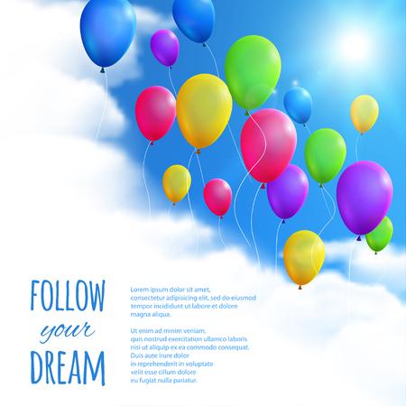 fondos azules: Cielo de fondo con globos de colores. Vectores
