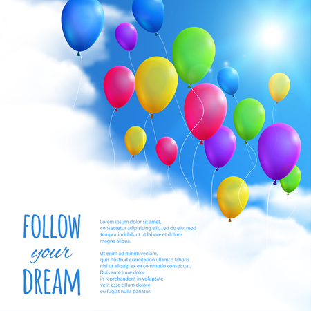 blue white: Sky Background with Colorful Balloons.  Illustration