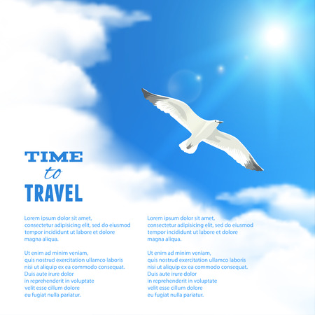 cloud scape: Cloud scape with Seagull. Illustration