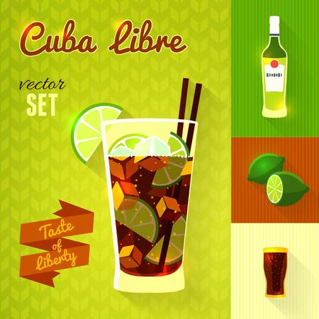 Cuba Libre Cocktail Set. Illustration