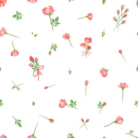 petites fleurs: Motif floral transparente avec Roses. Illustration