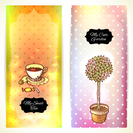illustration editable: Tea in the Garden, Set of Two Cute Banners.