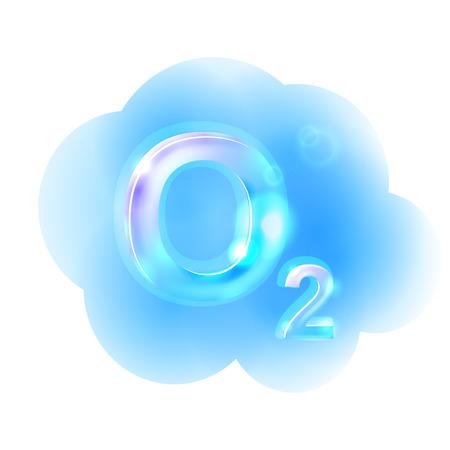 Fórmula oxígeno. Ilustración de vector
