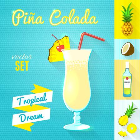 pina colada: Pina Colada Cocktail Set.