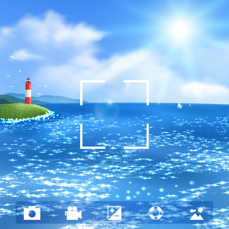 oceanscape: Sunny Seascape with Lighthouse.