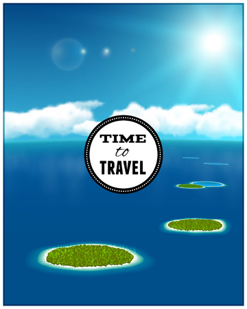 seascape: Sunny Seascape with Coral Islands. Vector illustration. Illustration