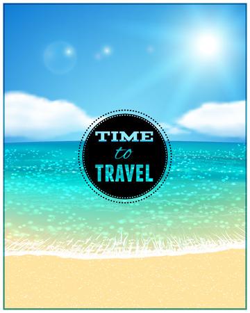 beach panorama: Sunny Seascape with Sandy Beach. Vector illustration. Illustration