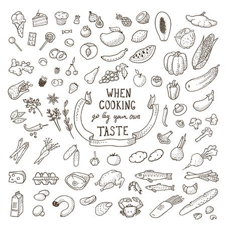手描き食品セットです。