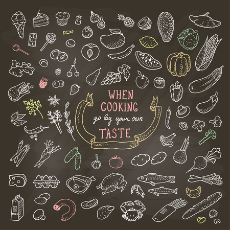 Hand Drawn Food Set, Chalk Icons. 일러스트