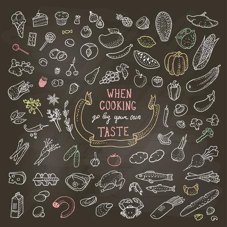 schwarz: Hand gezeichnet Lebensmittel Set, Kreide Icons. Illustration