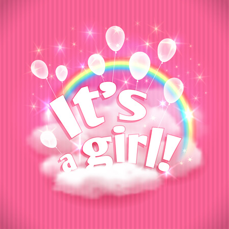 its a girl: Its a Girl! greeting card with balloons, clouds and rainbow. Vector illustration,