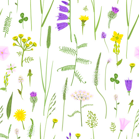 grass blade: Wildflowers in the naive style, seamless vector pattern.