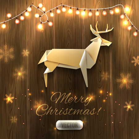 origami: Origami Xmas Deer and garland on wooden texture, Christmas illustration. Vector, , editable.