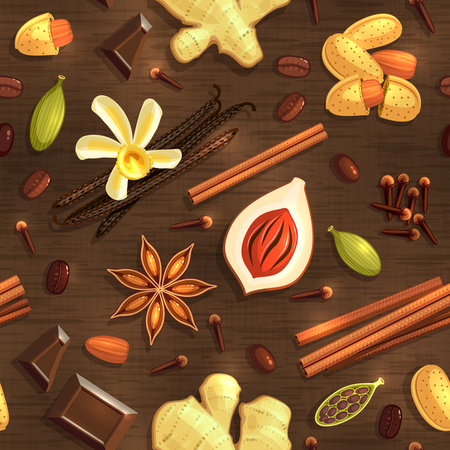 Gourmet Coffee Spices, seamless pattern. Vector illustration, .