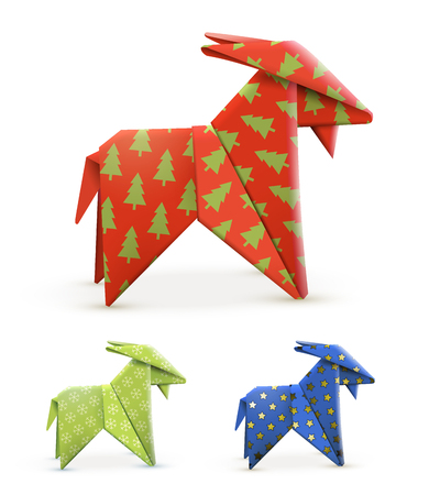 Origami Goats Different Colors Vector Illustration Royalty Free