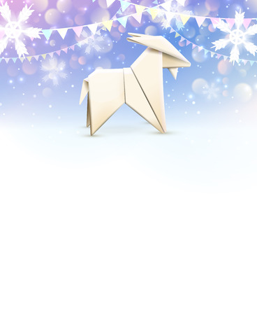 origami paper: Origami Goat, New Year background . Vector illustration, .