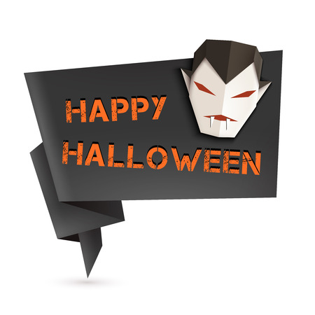 Halloween Origami Speech Bubble With Origami Vampire. Vector ...
