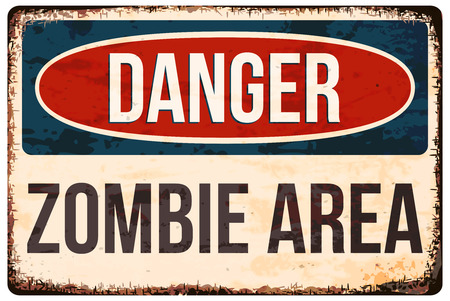 Halloween warning sign. Danger, zombie area! Vector illustration, .