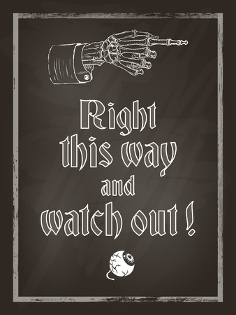skeleton hand: Halloween chalk board poster with skeleton hand and eyeball, vintage styled. Vector illustration, eps10.