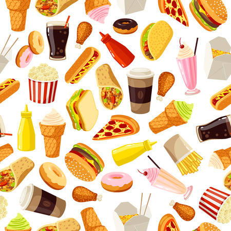 Seamless pattern with cartoon fast food. Vector illustration, . Vettoriali