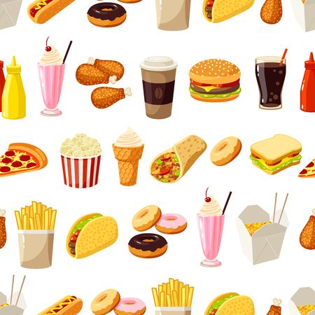 alimentos y bebidas: Patrón sin fisuras con la comida rápida de la historieta. Ilustración del vector,. Vectores