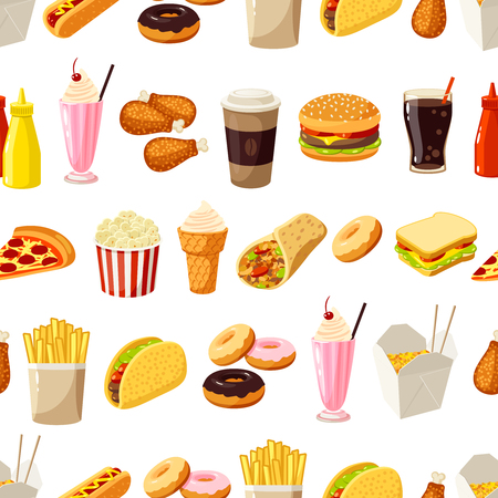 helado caricatura: Seamless pattern with cartoon fast food. Vector illustration, . Vectores