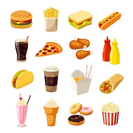 gaseosas: Conjunto de comida rápida de la historieta. ilustración vectorial, aislado en blanco.