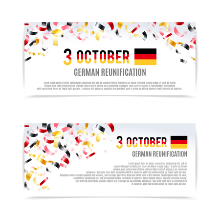 german: German Reunification Day banners. Vector illustration, eps10.