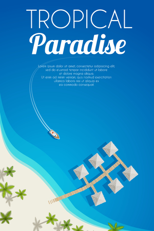 Sunny summer beach background with palms and bungalows. Vector illustration, .