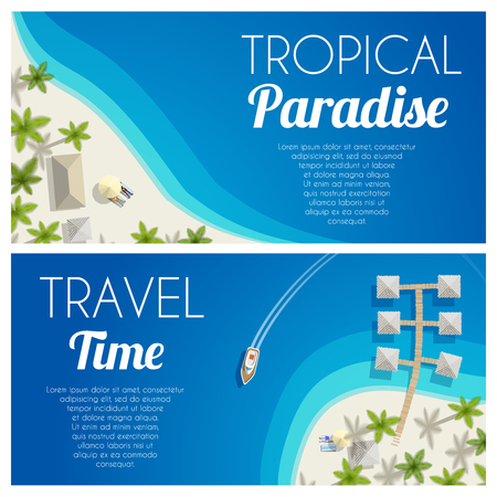 caribbean beach: Sunny summer beach horizontal banners with palms and bungalows. Vector illustration, eps10.
