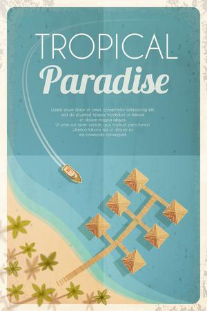 Été rétro fond de plage avec des palmiers et des bungalows. Vector illustration,. Vecteurs